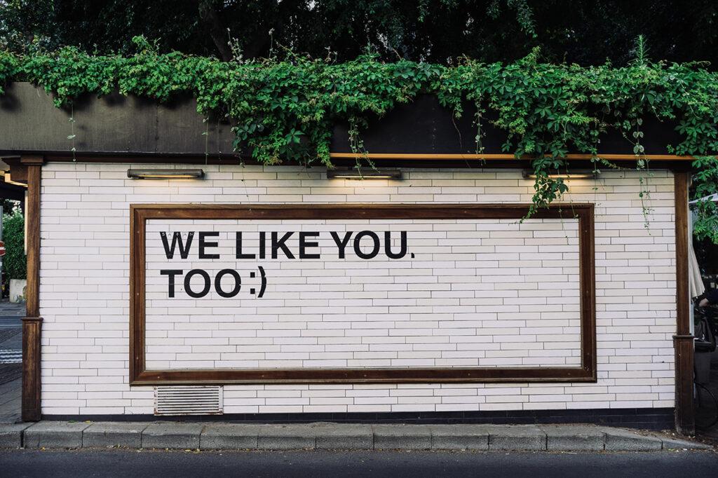 Een boodschap op een muur