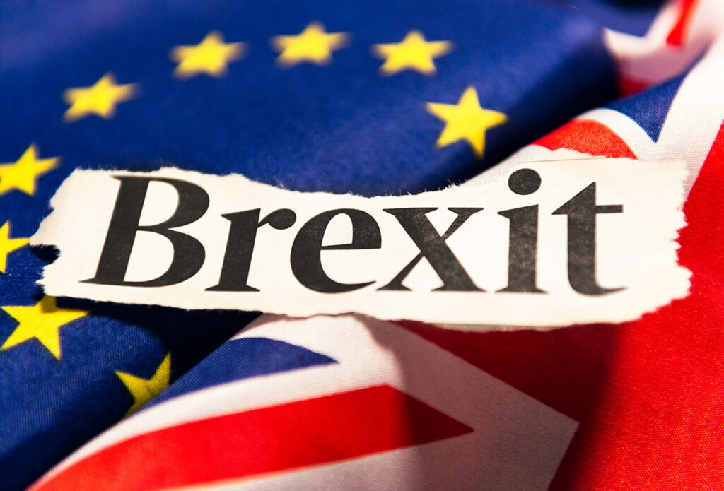 Vlag Europese Unie en Verenigd Koninkrijk