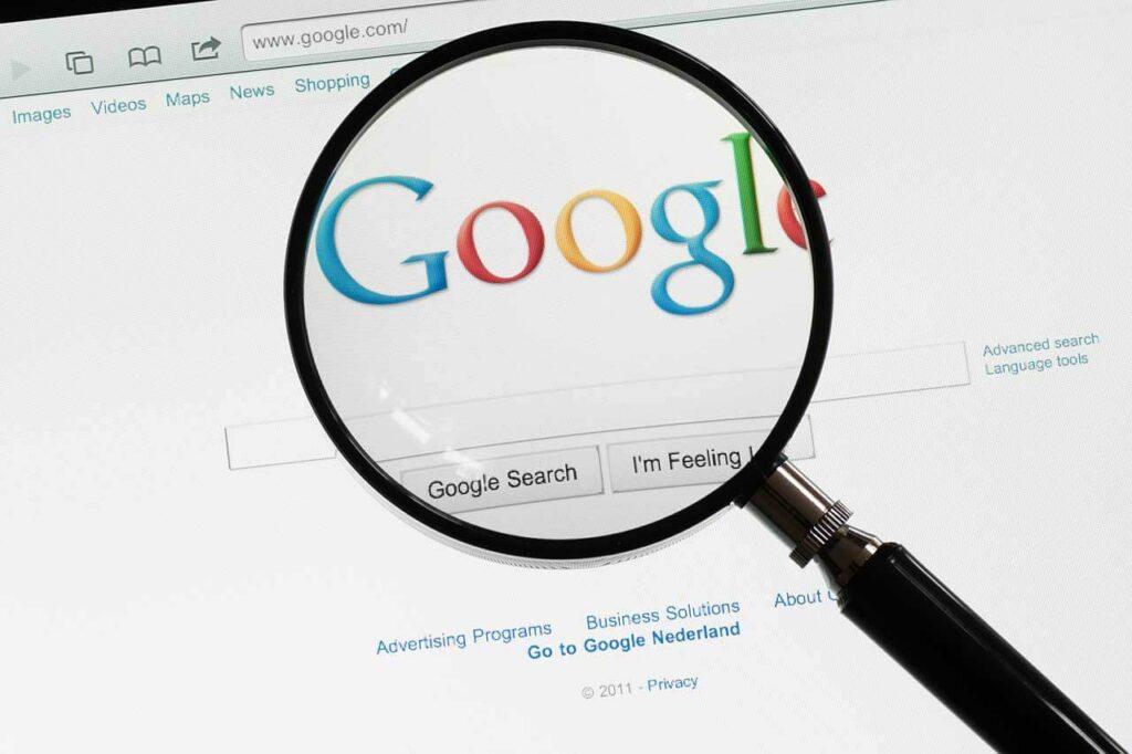Weergave van het zoekscherm Google