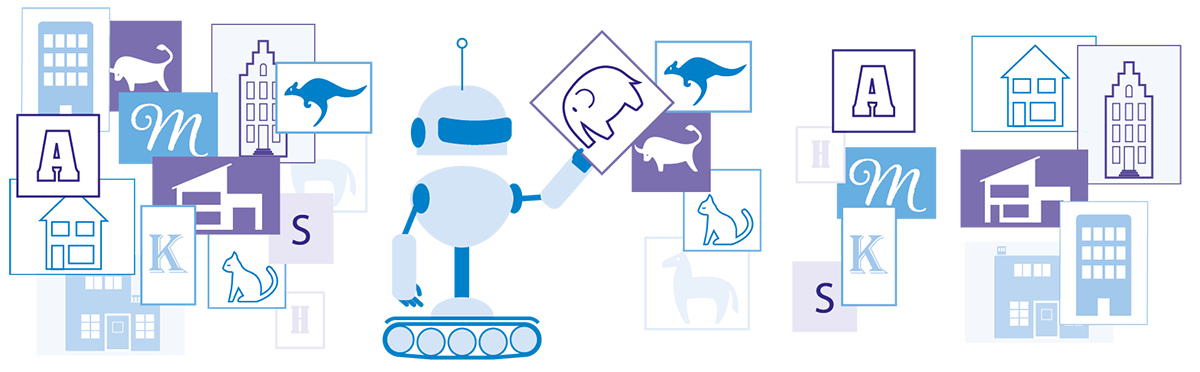 Illustratie van een robot die gegevens clustert door zelf patronen te vinden in een dataset