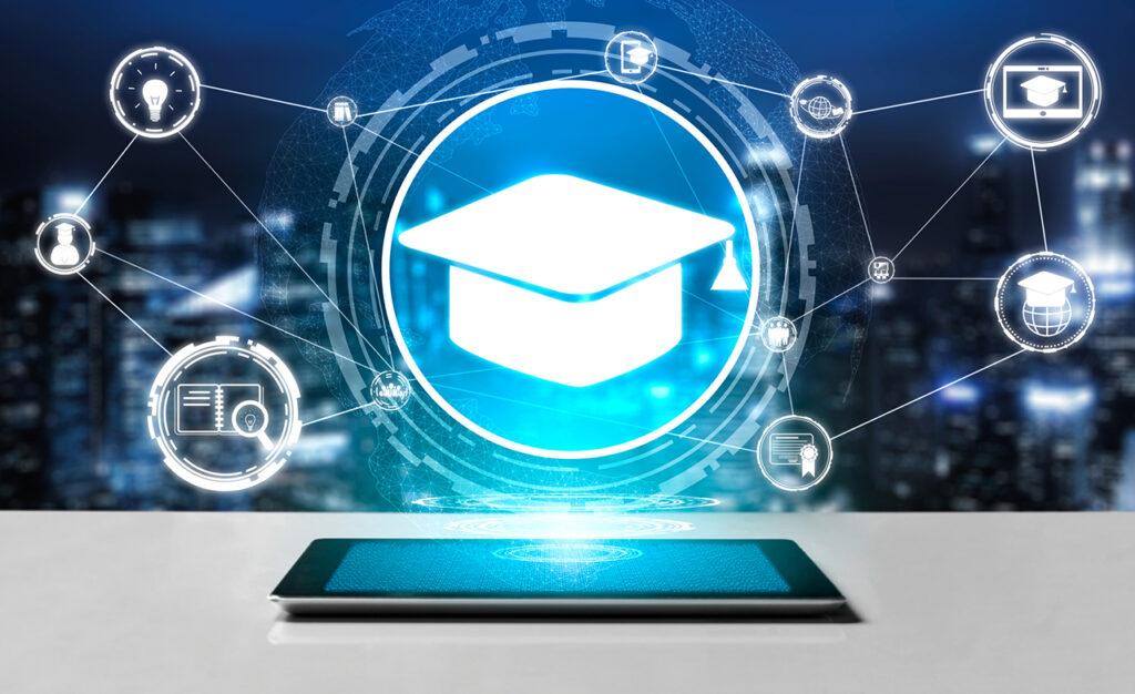 Futuristisch beeld van onderwijs op een device